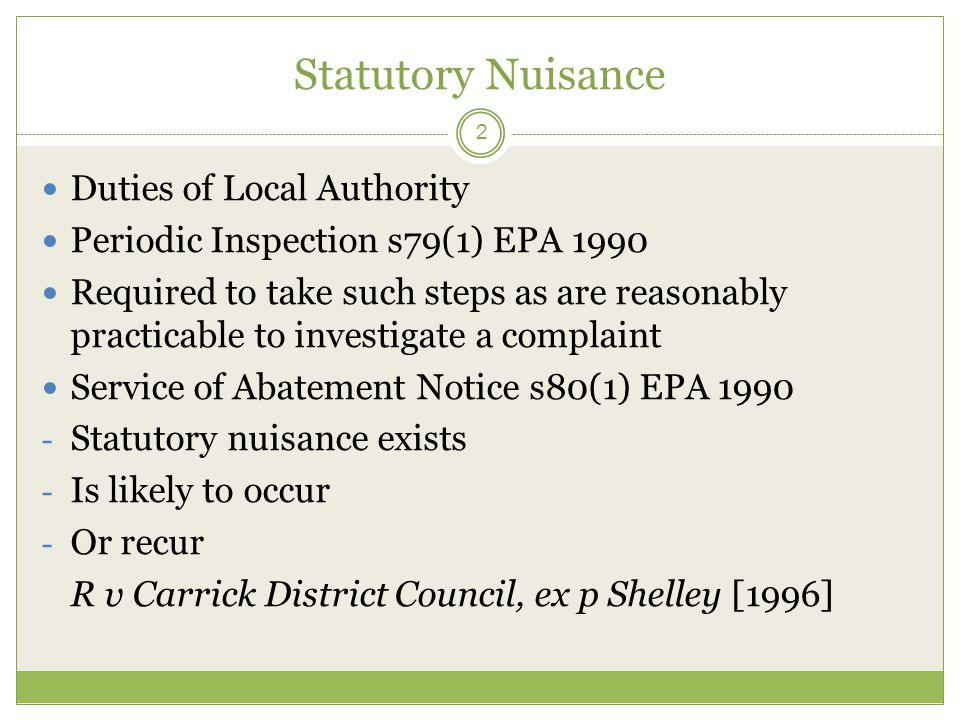 Statutory Nuisance Duties of Local Authority