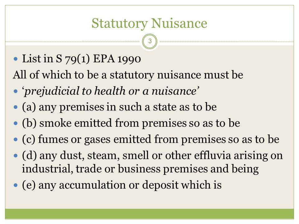 Statutory Nuisance List in S 79(1) EPA 1990