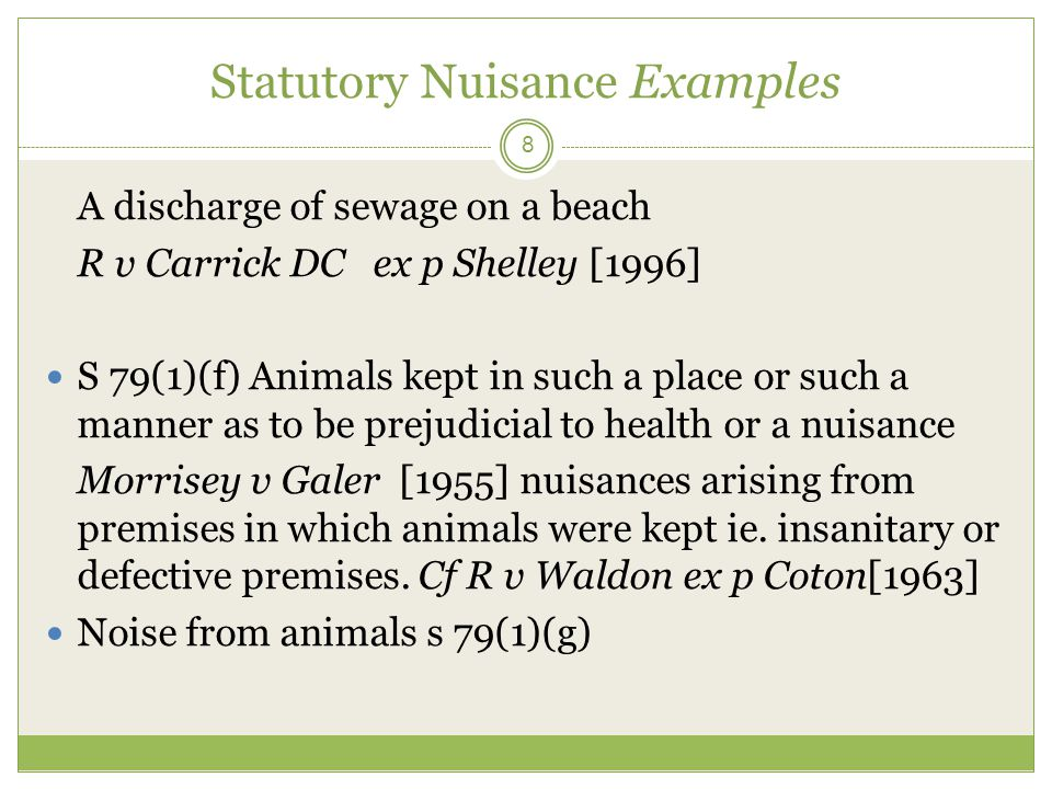 Statutory Nuisance Examples