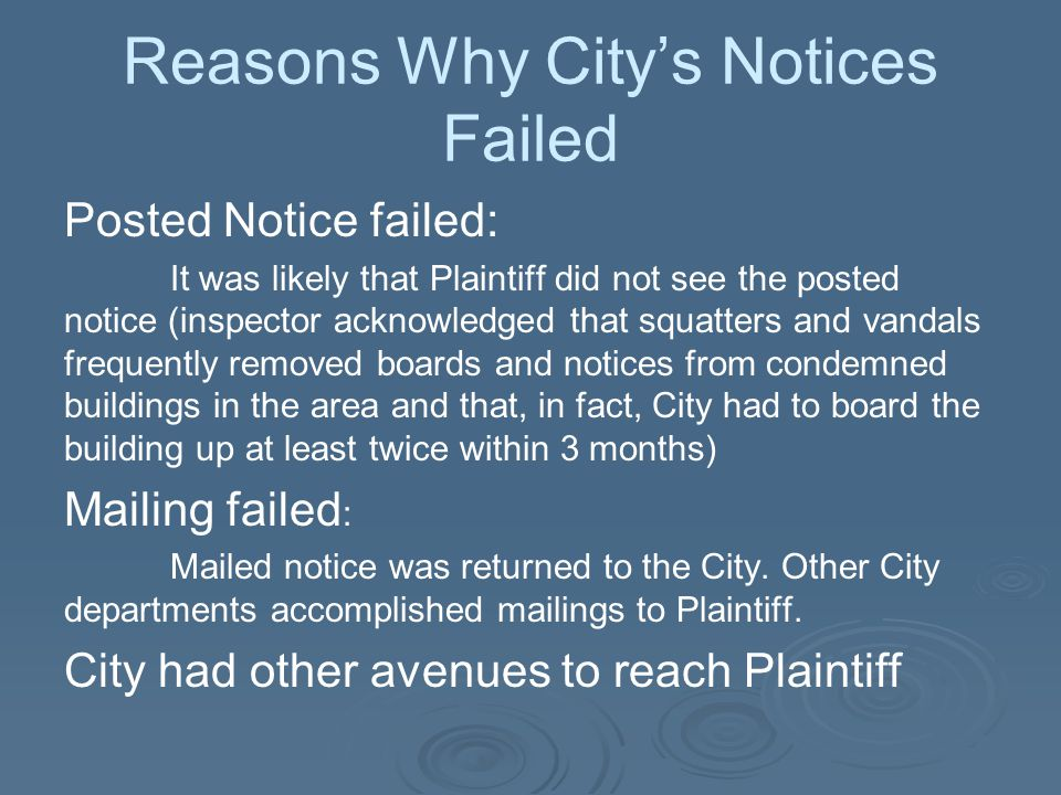 Reasons Why City's Notices Failed