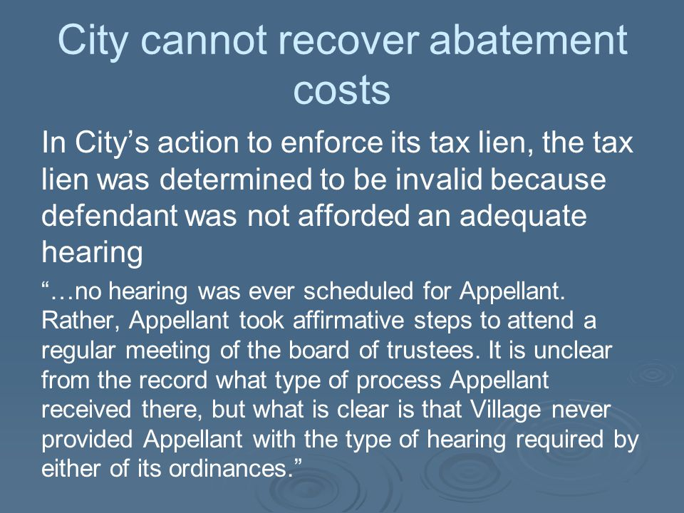 City cannot recover abatement costs