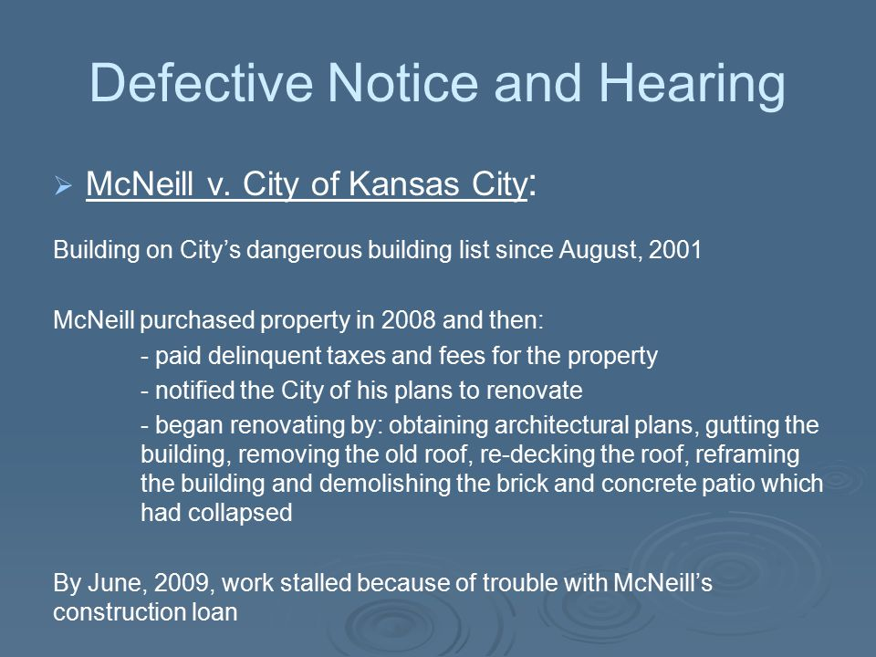 Defective Notice and Hearing