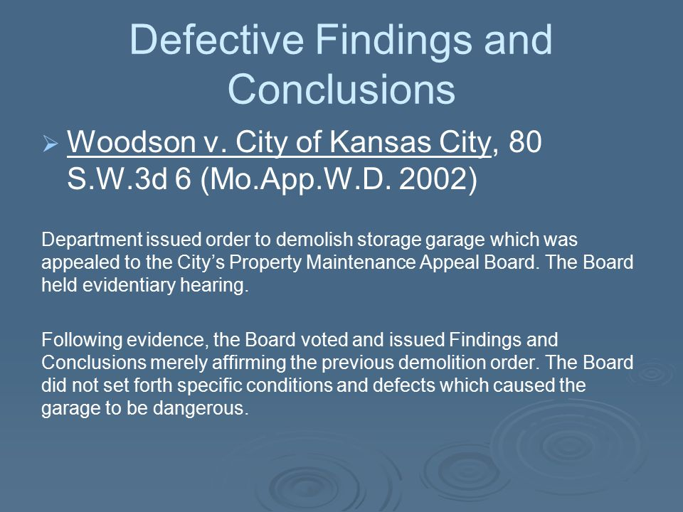 Defective Findings and Conclusions