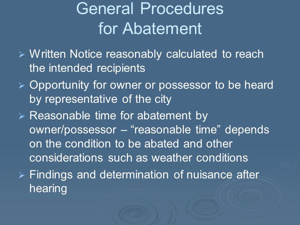 General Procedures for Abatement