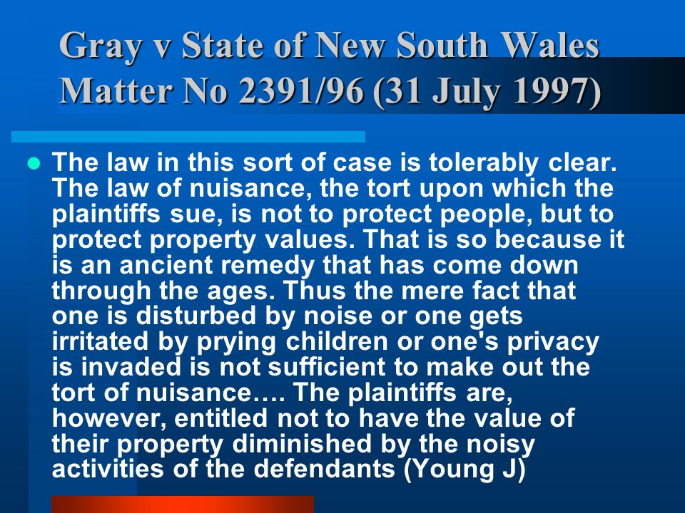 Gray v State of New South Wales Matter No 2391/96 (31 July 1997)