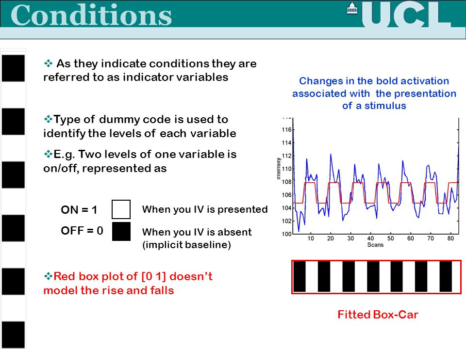 Conditions As they indicate conditions they are referred to as indicator variables.