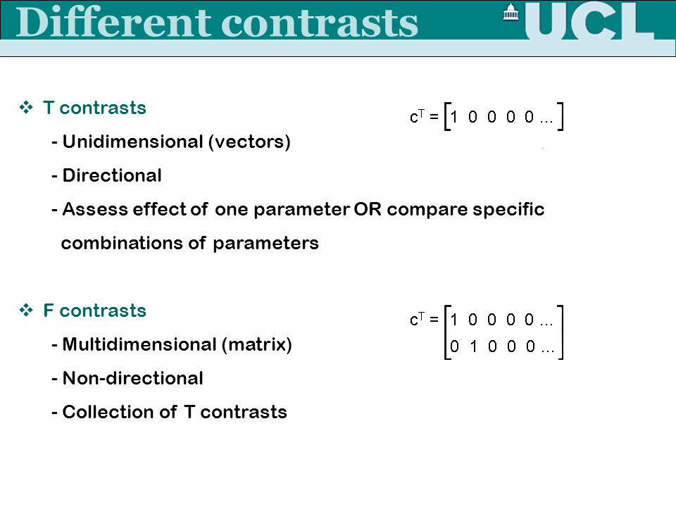 Different contrasts T contrasts - Unidimensional (vectors)