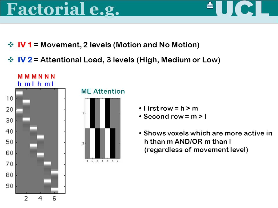 Factorial e.g. IV 1 = Movement, 2 levels (Motion and No Motion)