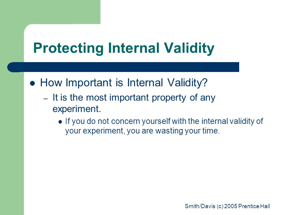 Protecting Internal Validity