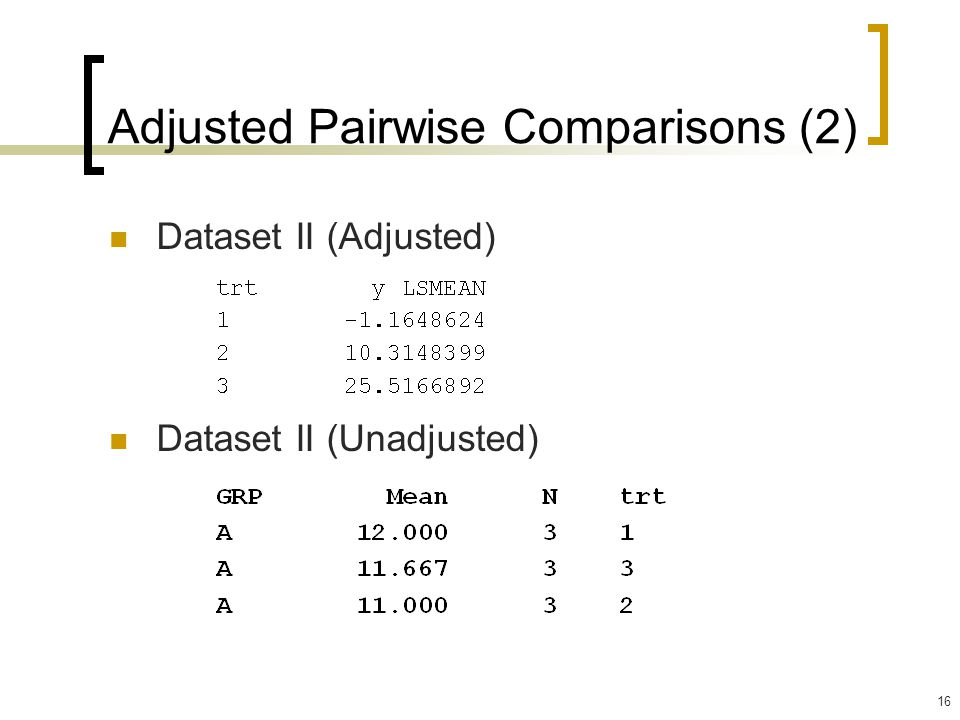 Adjusted Pairwise Comparisons (2)