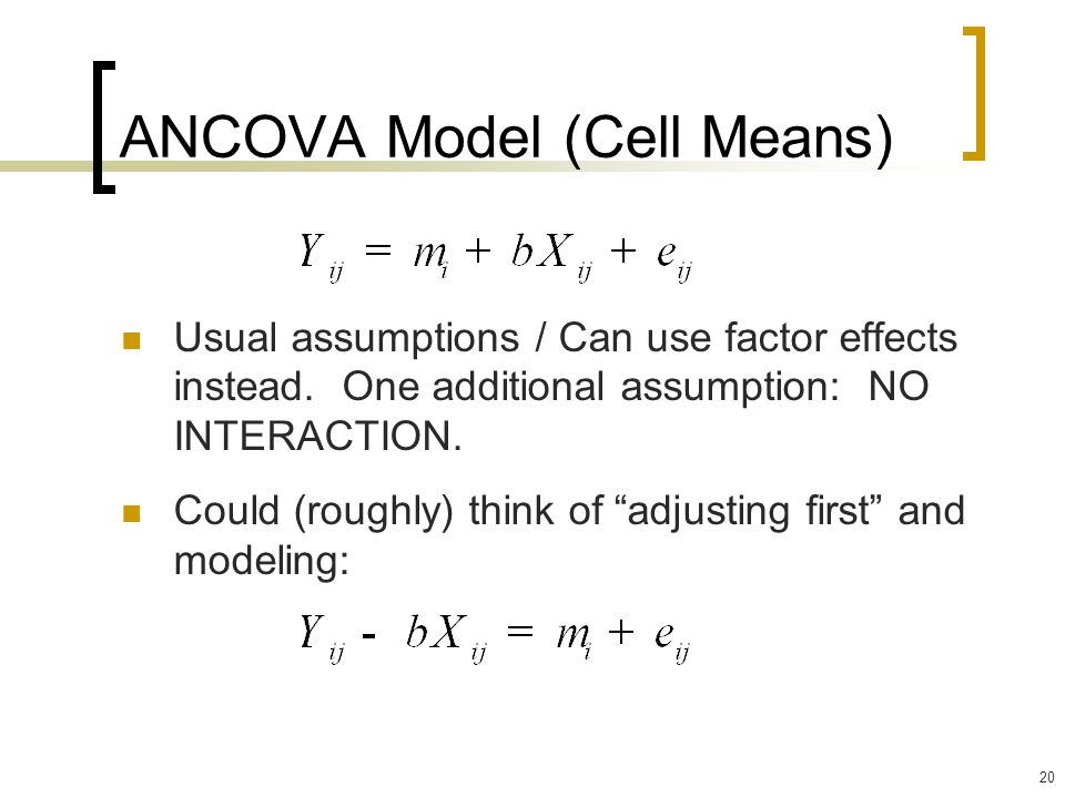 ANCOVA Model (Cell Means)