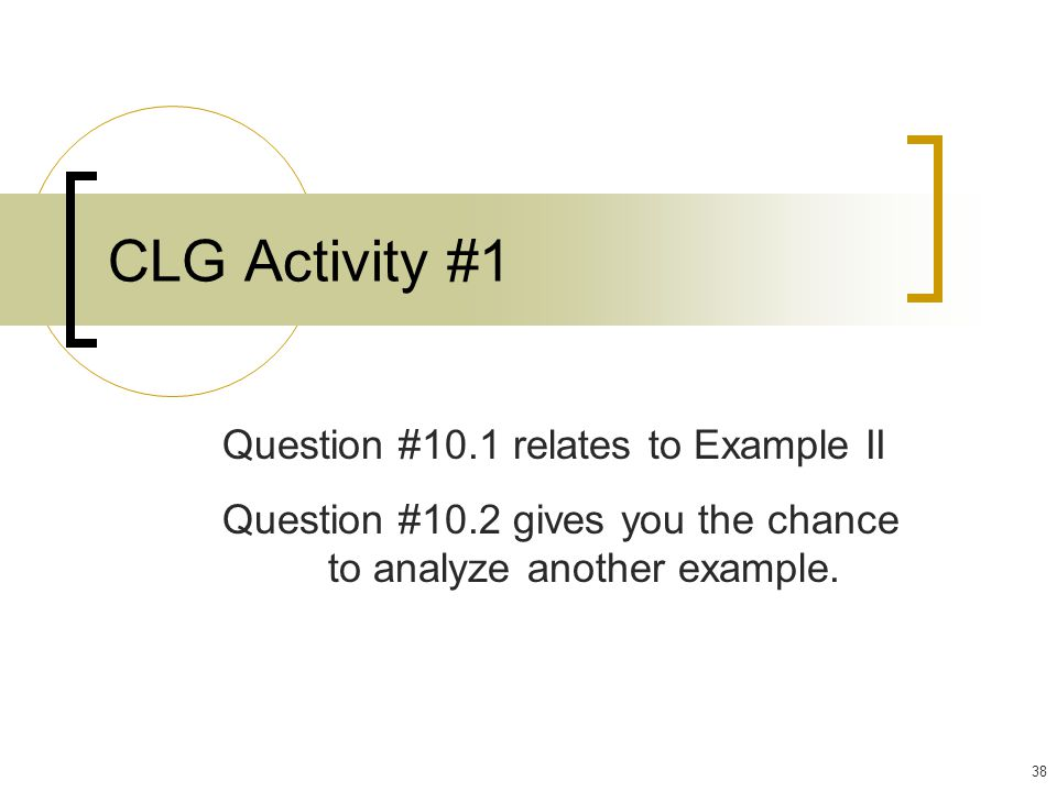 CLG Activity #1 Question #10.1 relates to Example II