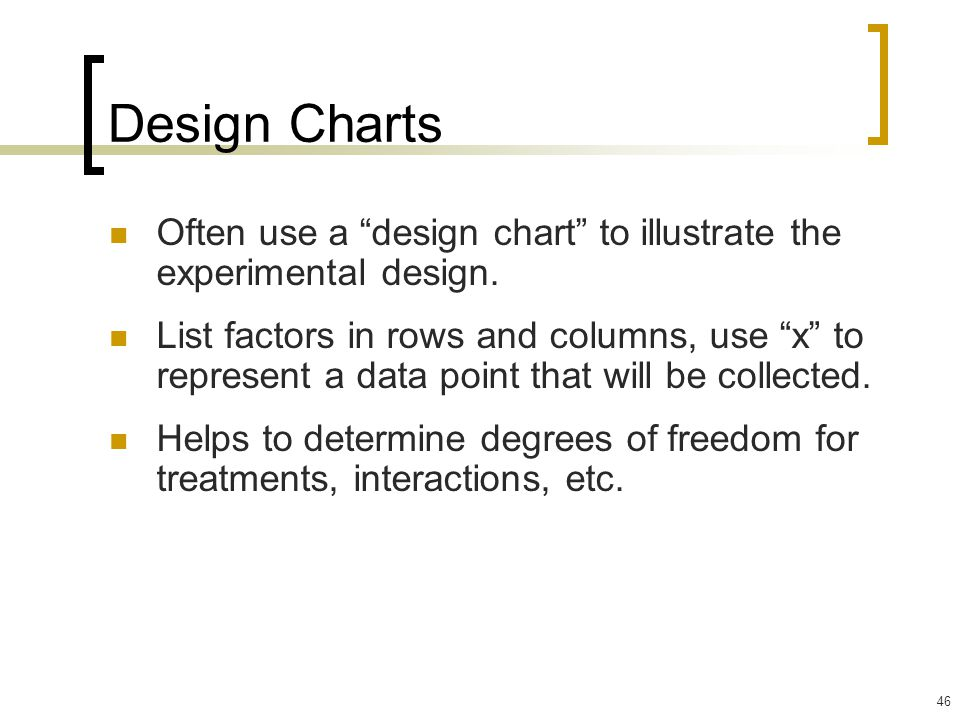 Design Charts Often use a design chart to illustrate the experimental design.