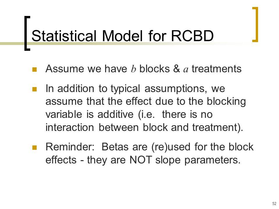 Statistical Model for RCBD