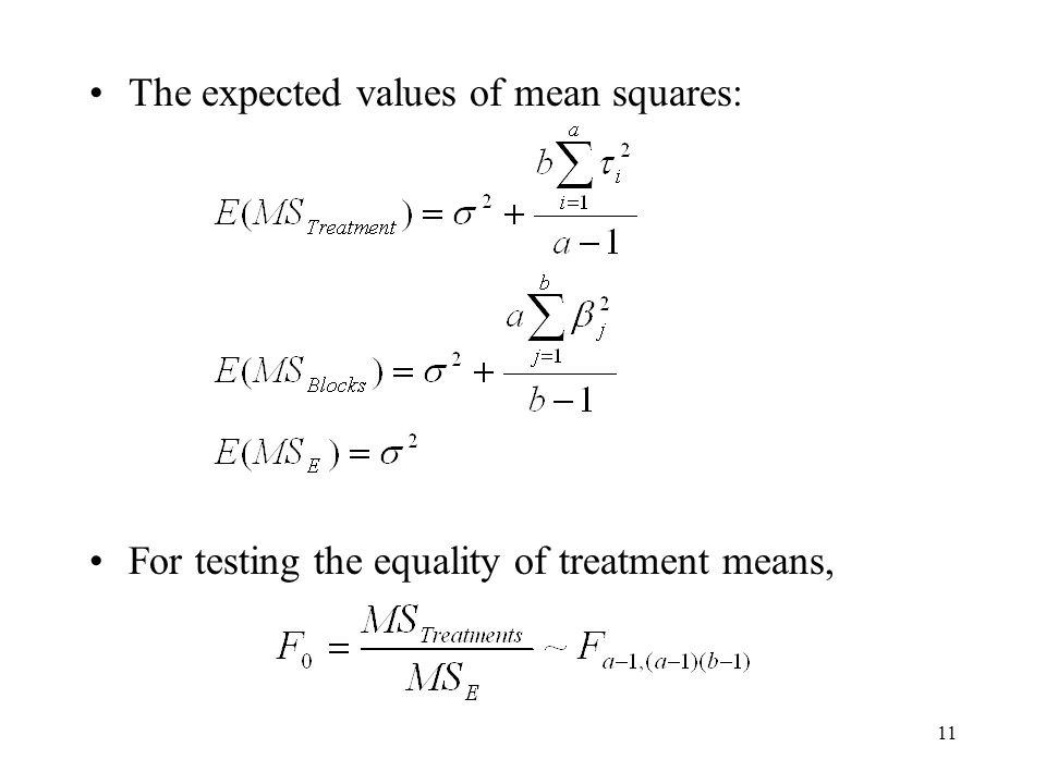 The expected values of mean squares: