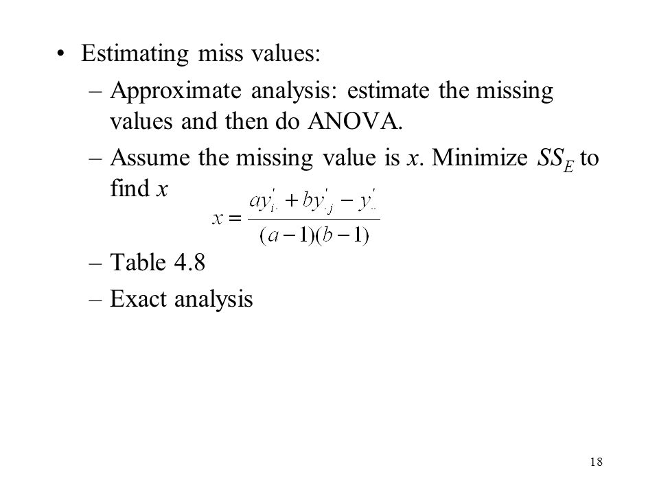 Estimating miss values: