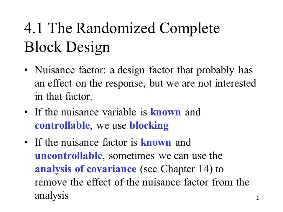 4.1 The Randomized Complete Block Design
