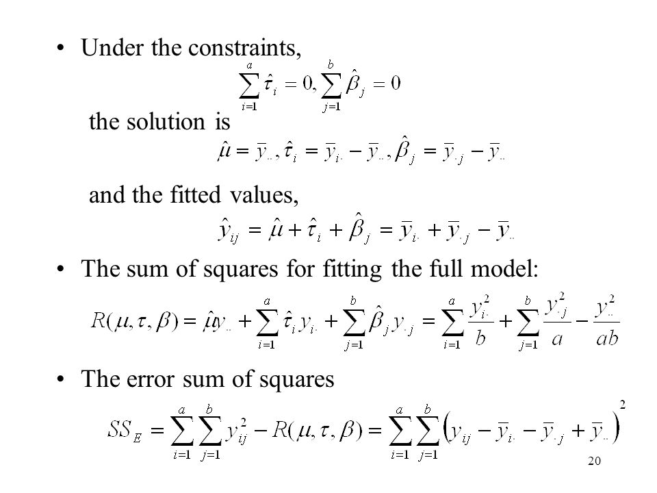 Under the constraints, the solution is. and the fitted values, The sum of squares for fitting the full model: