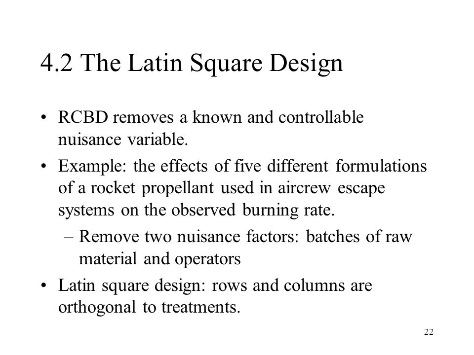 4.2 The Latin Square Design