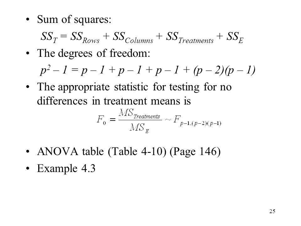 Sum of squares: SST = SSRows + SSColumns + SSTreatments + SSE. The degrees of freedom: p2 – 1 = p – 1 + p – 1 + p – 1 + (p – 2)(p – 1)