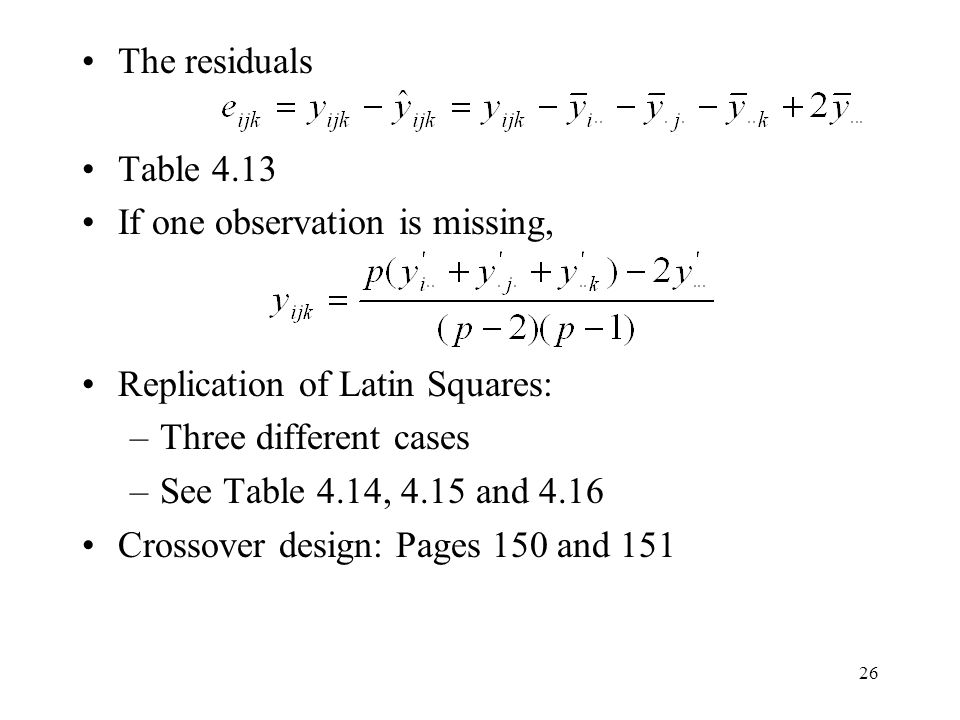 The residuals Table 4.13. If one observation is missing, Replication of Latin Squares: Three different cases.
