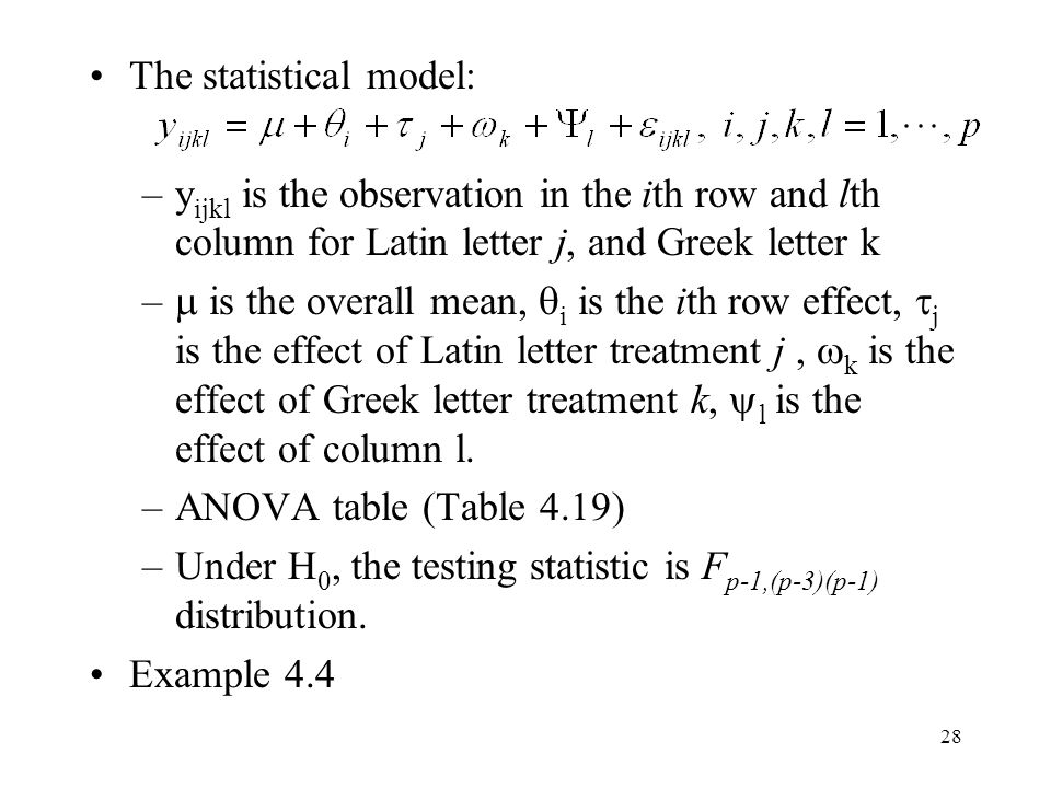 The statistical model: