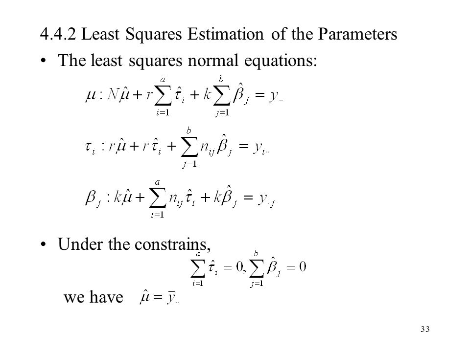 4.4.2 Least Squares Estimation of the Parameters