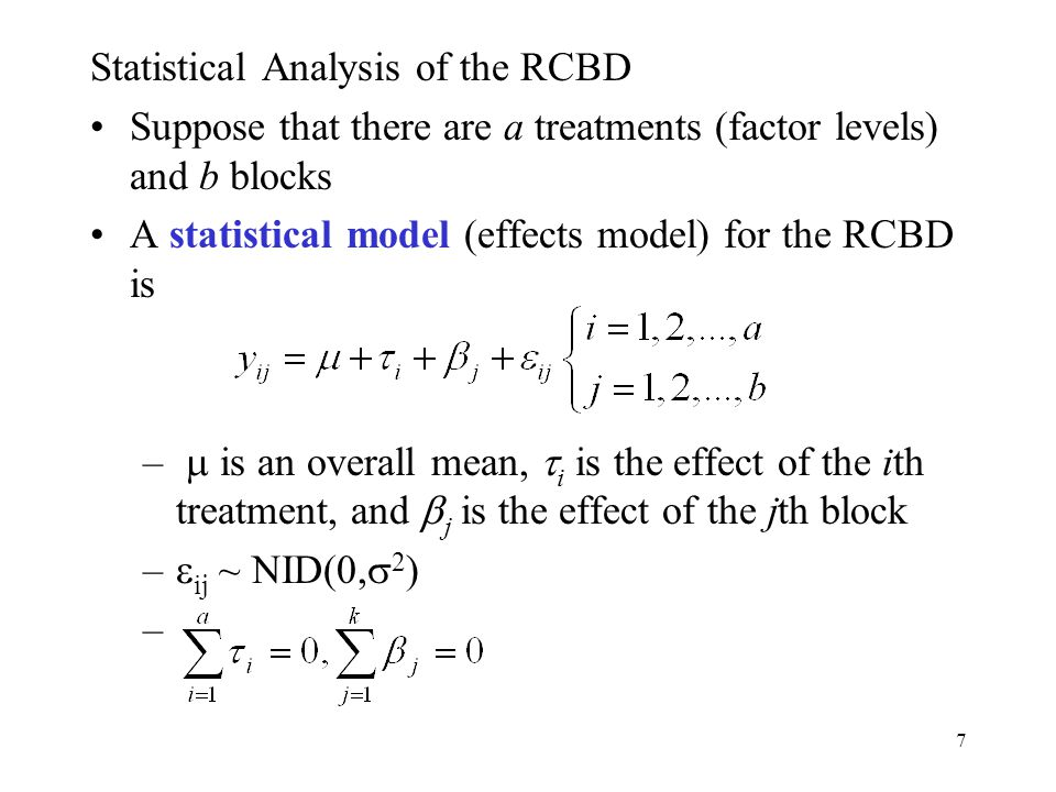 Statistical Analysis of the RCBD