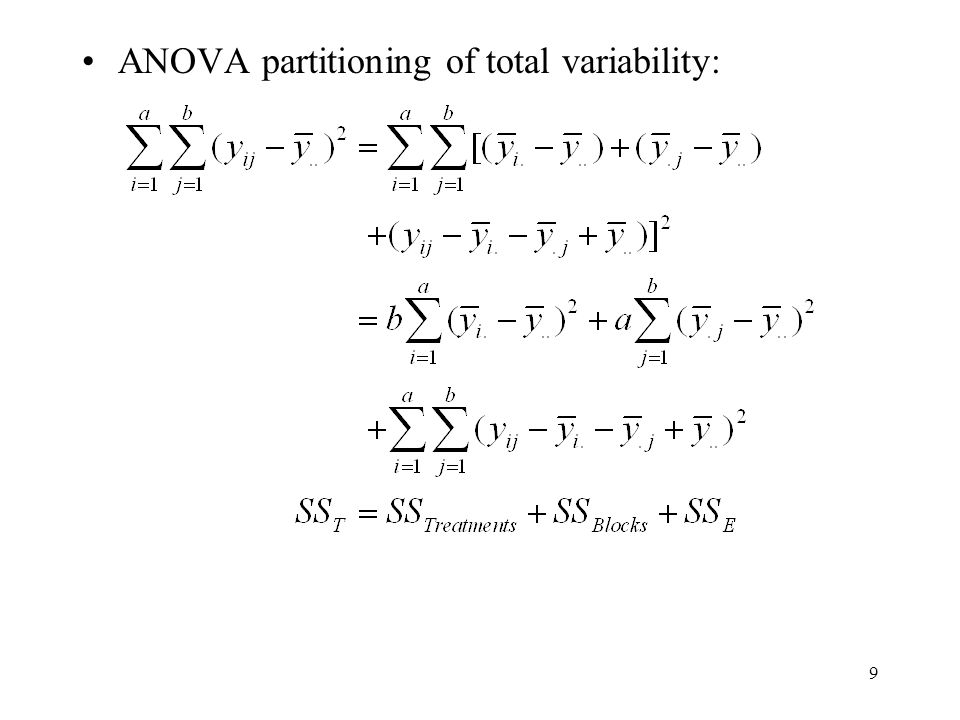 ANOVA partitioning of total variability: