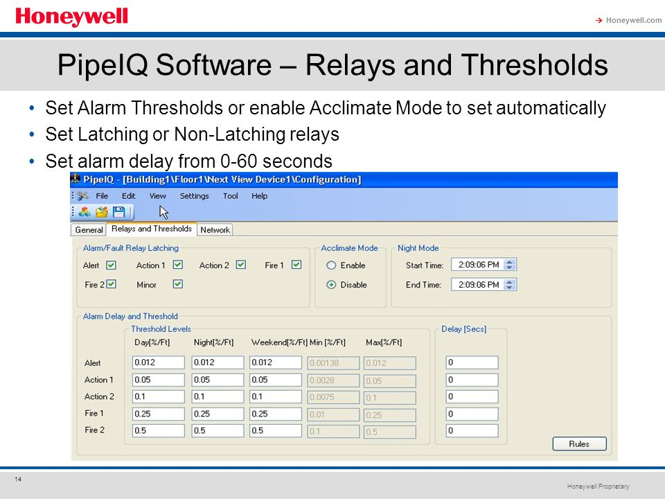 PipeIQ Software – Relays and Thresholds