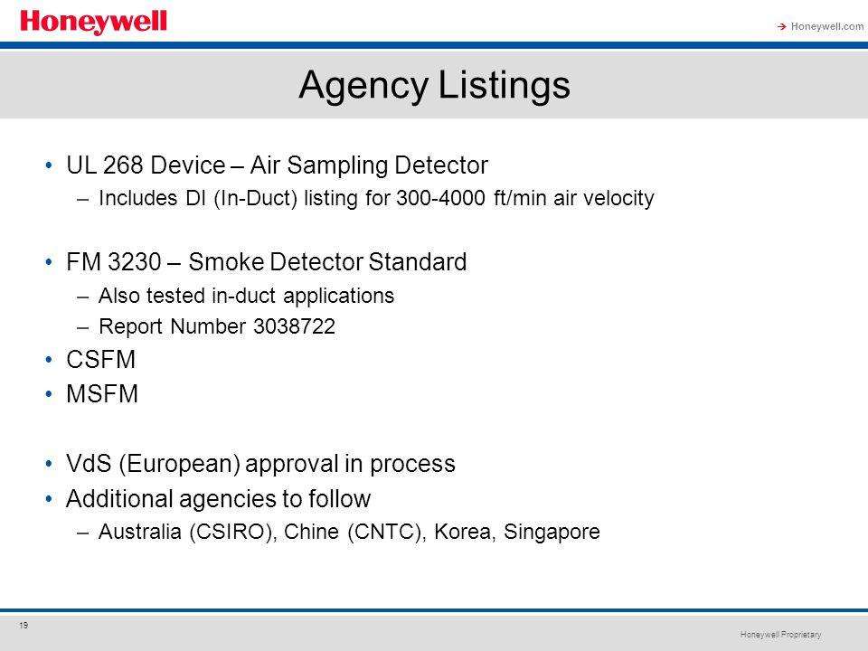 Agency Listings UL 268 Device – Air Sampling Detector