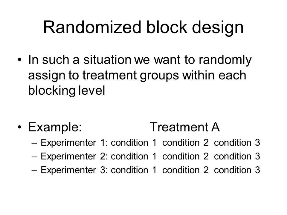 Randomized block design