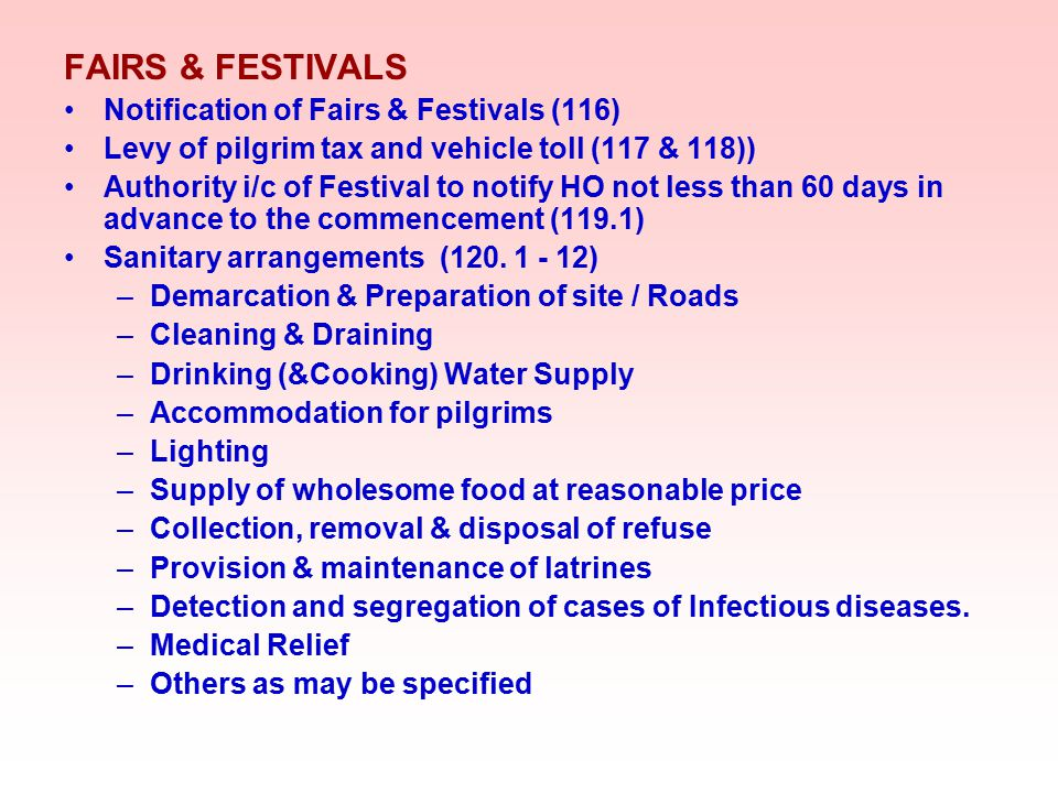 FAIRS & FESTIVALS Notification of Fairs & Festivals (116)