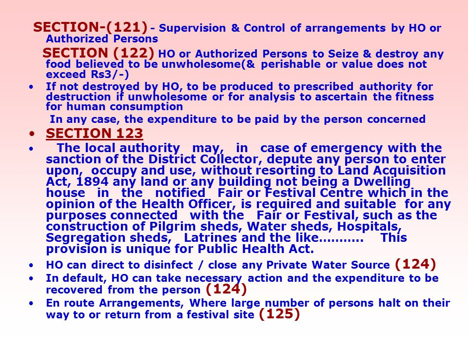 SECTION-(121) - Supervision & Control of arrangements by HO or Authorized Persons