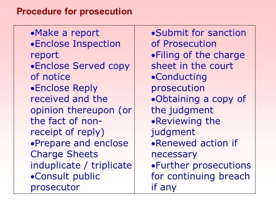 Procedure for prosecution