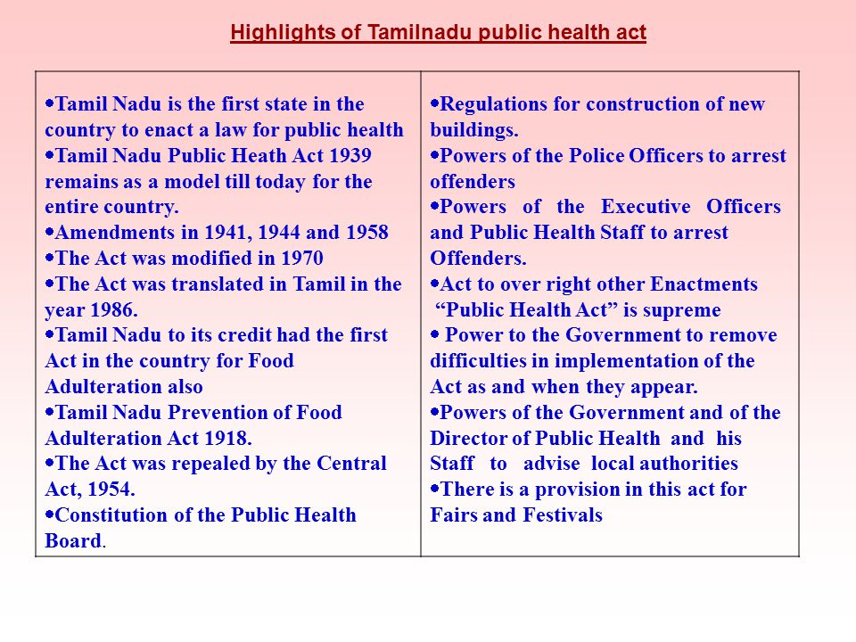 Highlights of Tamilnadu public health act