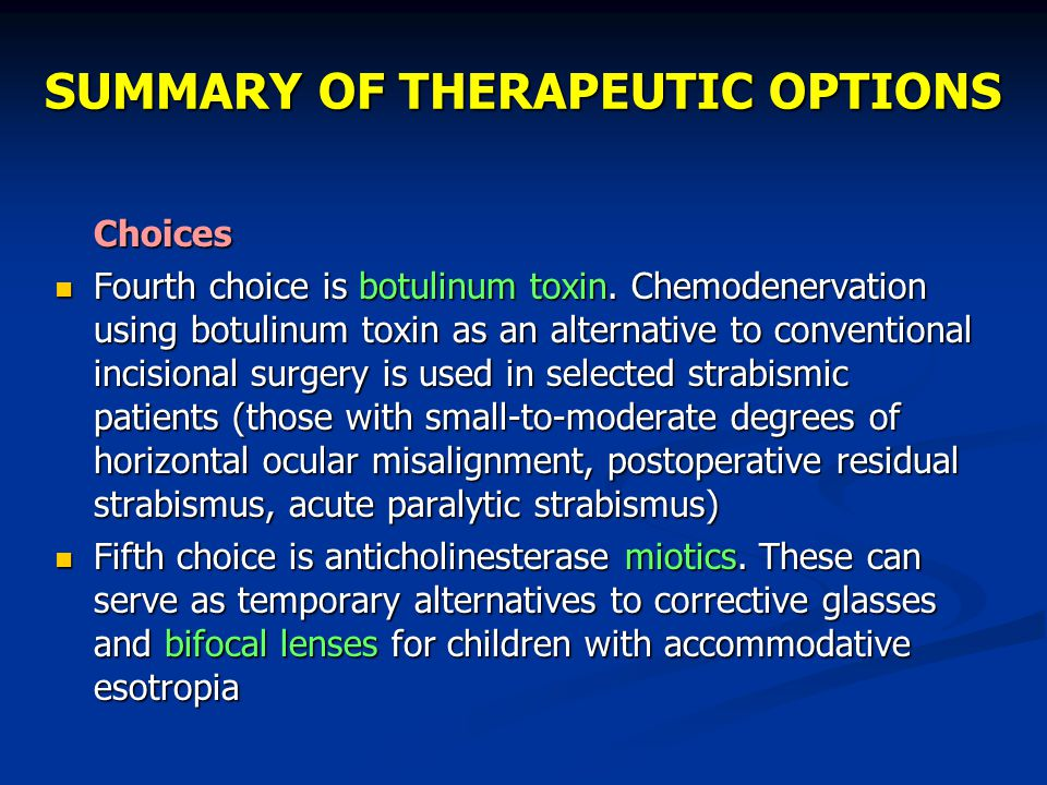 SUMMARY OF THERAPEUTIC OPTIONS