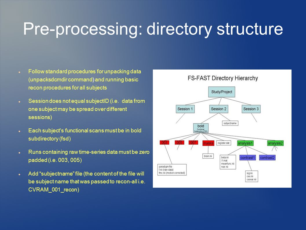Pre-processing: directory structure