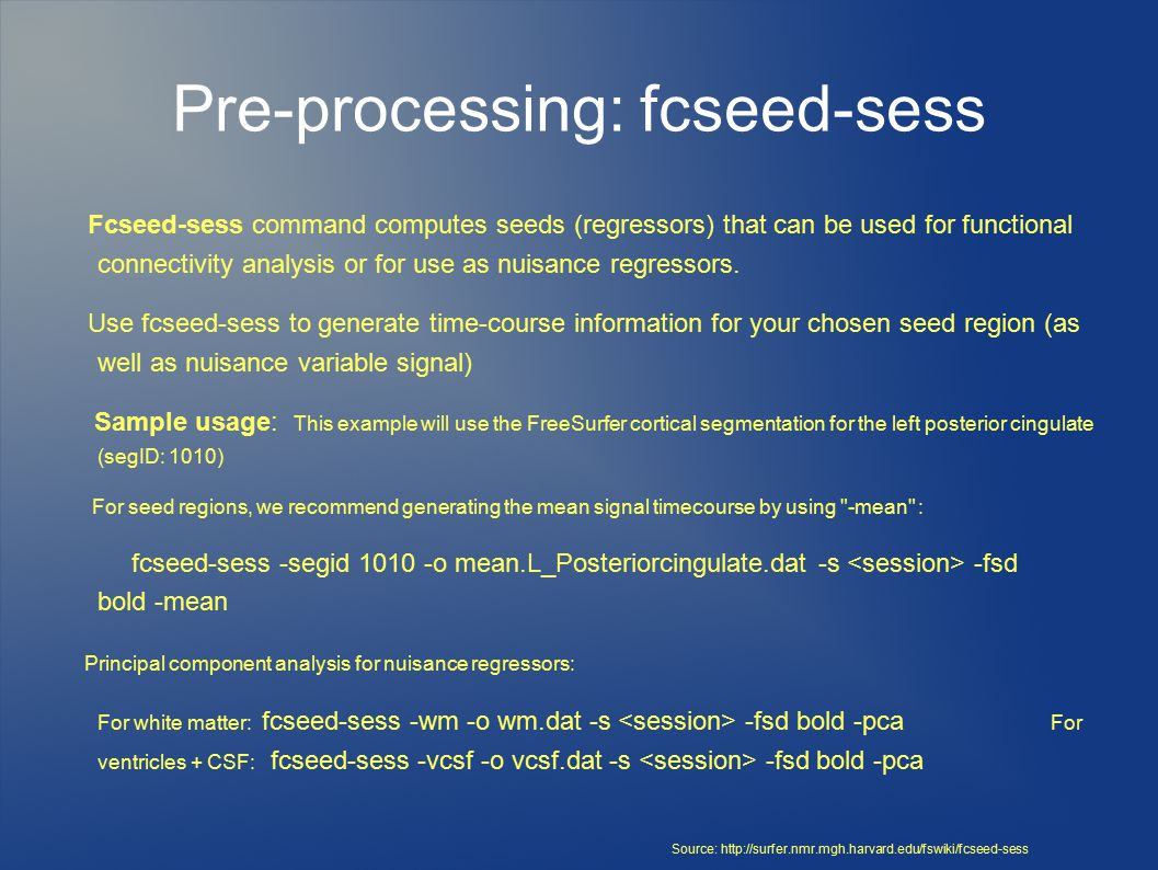 Pre-processing: fcseed-sess