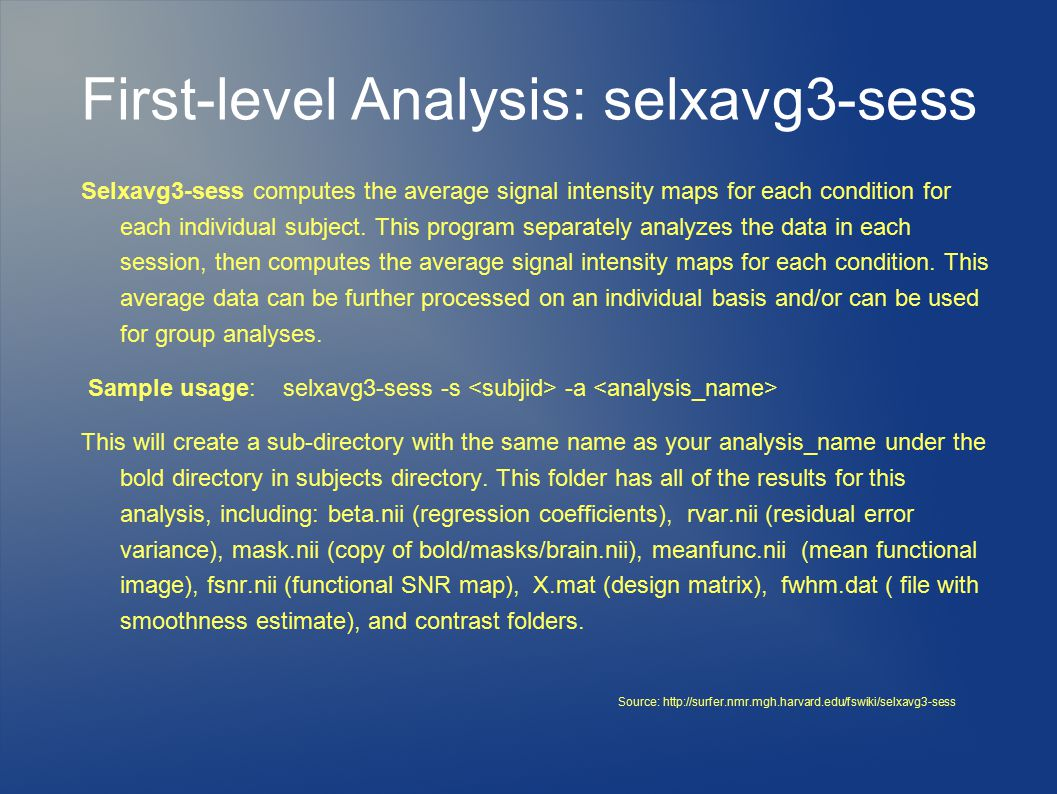 First-level Analysis: selxavg3-sess