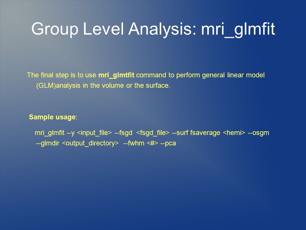 Group Level Analysis: mri_glmfit