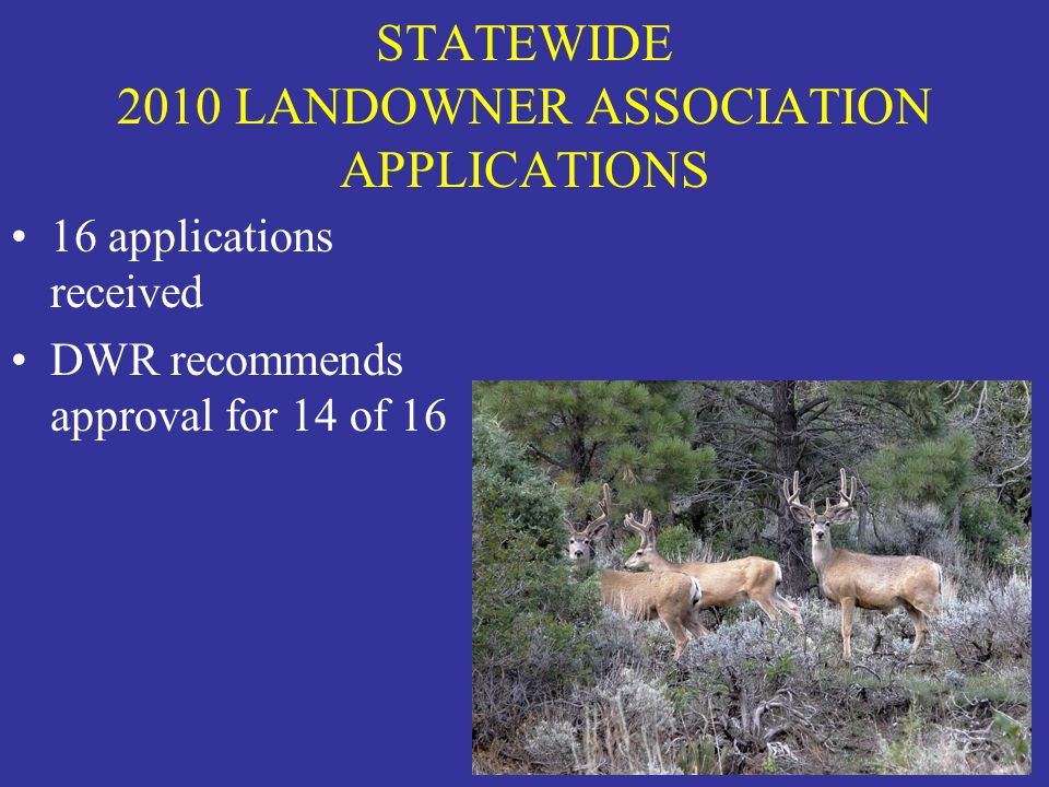 STATEWIDE 2010 LANDOWNER ASSOCIATION APPLICATIONS