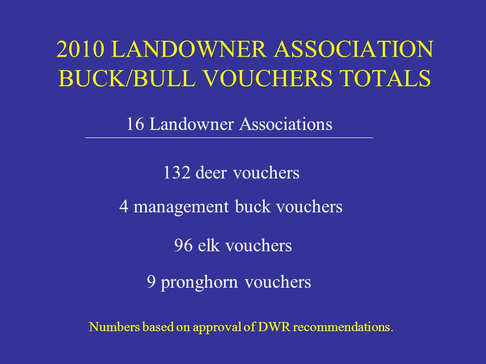 2010 LANDOWNER ASSOCIATION BUCK/BULL VOUCHERS TOTALS