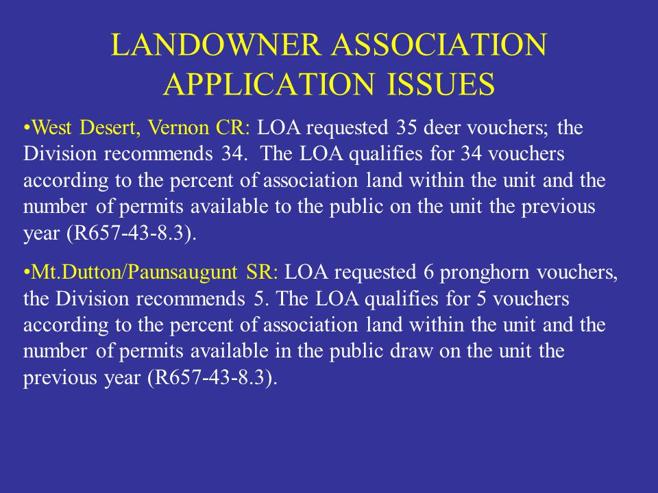 LANDOWNER ASSOCIATION APPLICATION ISSUES