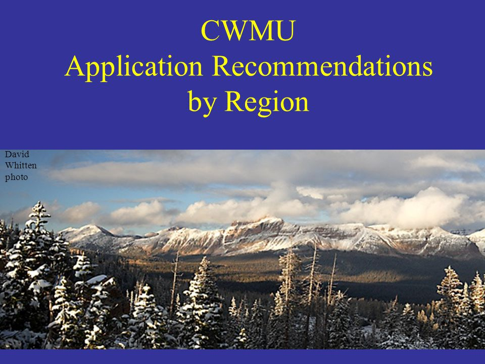 CWMU Application Recommendations by Region