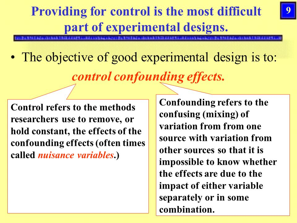 control confounding effects.