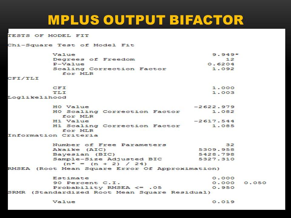 Mplus output bifactor
