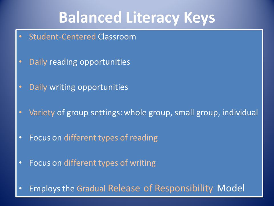 Balanced Literacy Keys