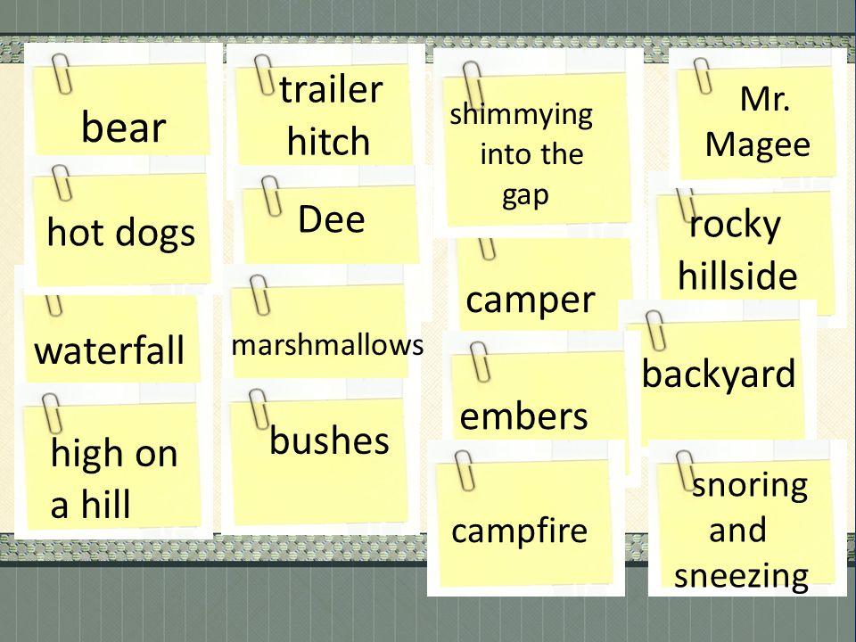 trailer bear rocky hitch Dee hot dogs hillside camper waterfall