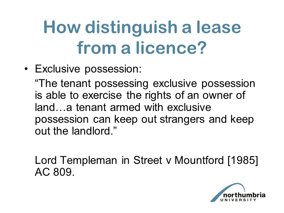 How distinguish a lease from a licence
